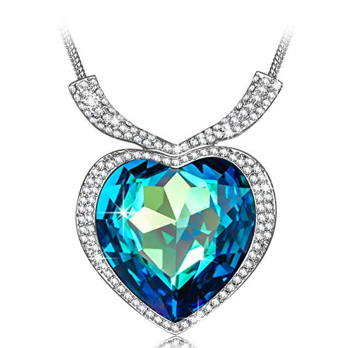 QIANSE Necklaces for Women Heart of Ocean Necklace Swarovski Crystal Jewelry for Women Jewelry Gifts Birthday Gifts for Girlfriend Presents for Mom Daughter Wife Grandma Friend