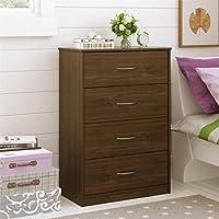 Traditional and Easy Glide 4 Drawer Dresser (Saint Walnut)