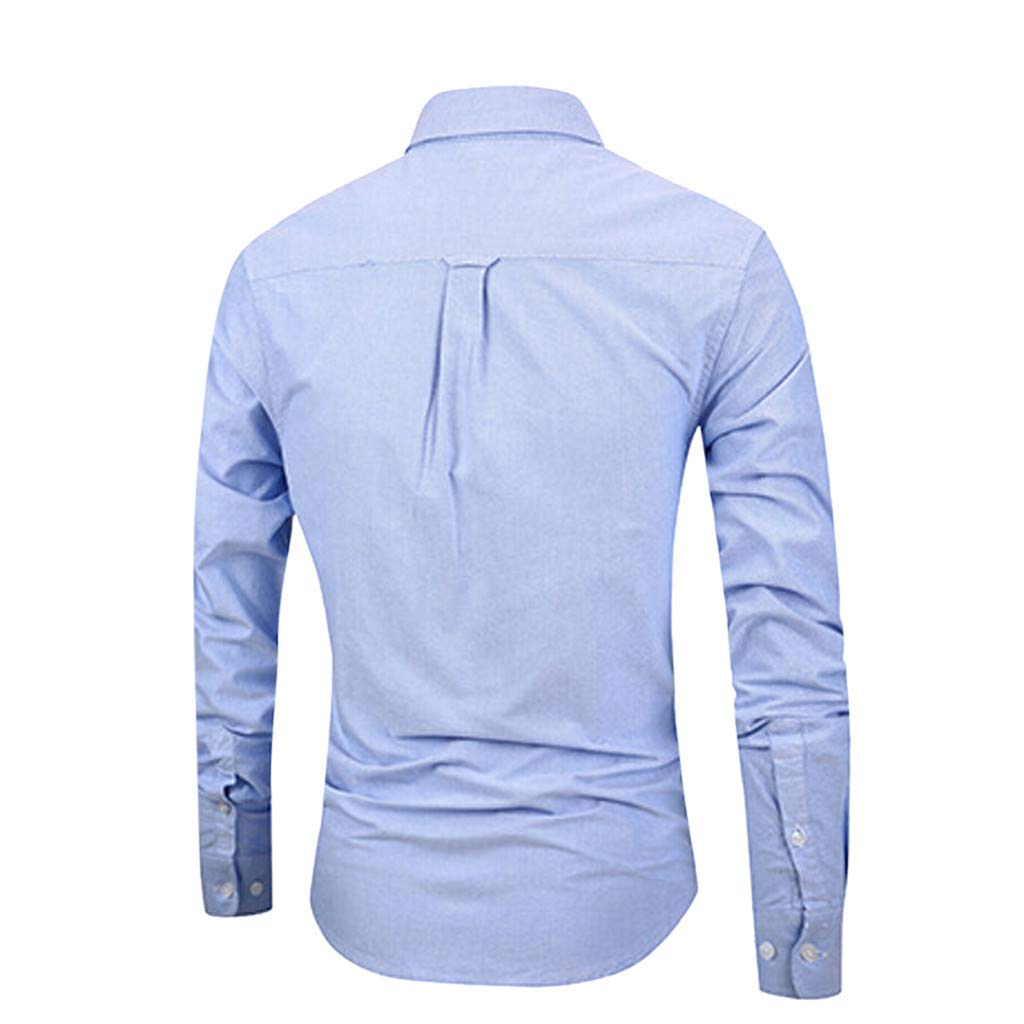HongMong Mens Spring Long Sleeve Solid Color Stand Collar Pocket Button Shirt