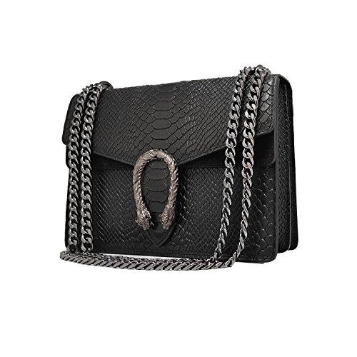 Liscia Made myitalianbag E Italy Metallo Pelle Spalla Rettile Pochette Camoscio In A Tracola Grande Catena Grigio Accessori Rachel Borsa 6Hw6SqBA7