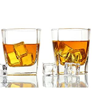 Taylor'd Milestones 10 oz Scotch Glasses - Rocks Glass, Set of 2 Diamond Etched Old Fashioned Whiskey Glass