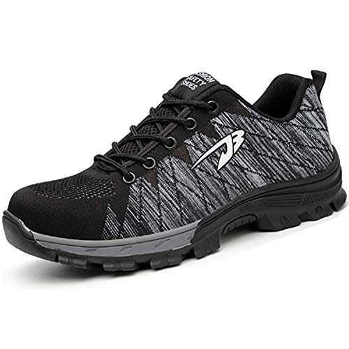TQGOLD Work Safety Shoes Steel Toe Shoes Composite Protect Toe for Men Women Industrial&Construction(Size 40, Black Gray) ()