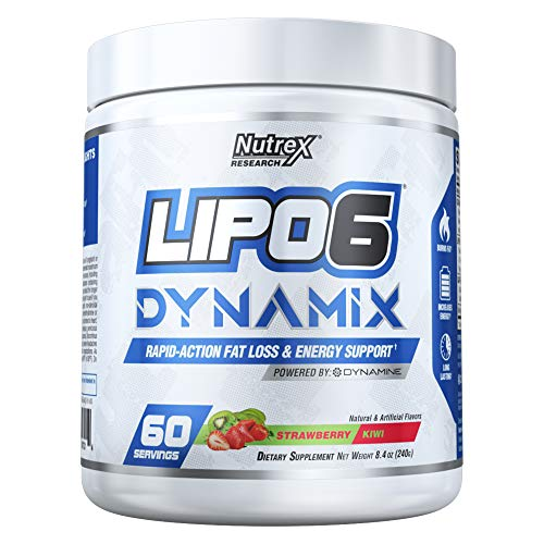 Nutrex Research Lipo 6 Dynamix Rapid Action Fat Loss Energy Support, Dynamine, Choline, Huperzine, Theanine, Caffeine Citrate Strawberry Kiwi 60 Servings