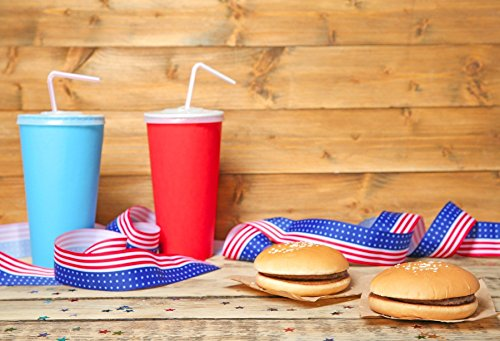 Yeele 6x4ft Hamburger Drink Colored Flag Style Streamer Photo Backdrop Fourth Of July Independence Day Backdrop Usa Stars And Stripes Adult Kid Boy Soldier Portrait Photoshoot Studio Props -