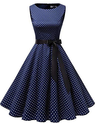 Gardenwed Women's Audrey Hepburn Rockabilly Vintage Dress 1950s Retro Cocktail Swing Party Dress Navy Small White Dot 3XL