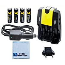 (4) Rechargeable AA Batteries + AC/DC Car/Home Charger for AA/AAA Batteries f/ Nikon L28, L30, L120, L620, L810, L820, L830, S6800, S8200 &More + an eCostConnection Microfiber Cloth