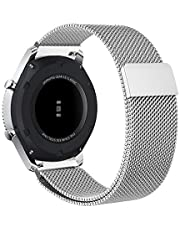 Gear S3 Frontier/Classic Band/Galaxy Watch Band Milanese Solid Stainless Steel Metal Business Bracelet Strap for Samsung Gear S3 Frontier/S3 Classic Smartwatch/Galaxy Watch R800 Silver