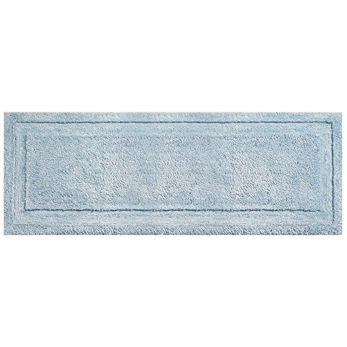 """mDesign Soft Microfiber Polyester Non-Slip Extra-Long Spa Mat/Runner, Plush Water Absorbent Accent Rug for Bathroom Vanity, Bathtub/Shower, Machine Washable - 60"""" x 21"""" - Water Blue"""