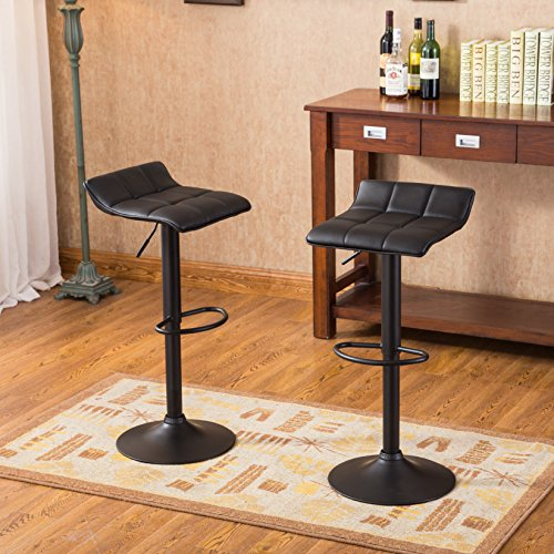 Roundhill Furniture Belham Swivel black Bonded Leather Adjustable bar Stool. Set of (Bonded Leather Stool)