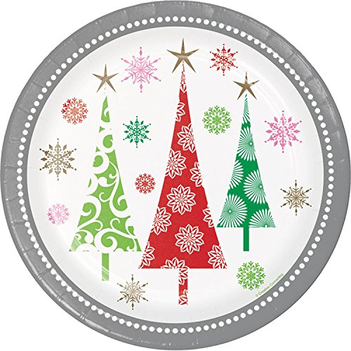 Club Pack of 144 Vibrantly Colored Christmas Trees Printed Dinner Plate 8.8
