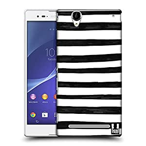 Head Case Designs Stripes Black and White Doodle Patterns Protective Snap-on Hard Back Case Cover for Sony Xperia T2 Ultra Dual T2 Ultra