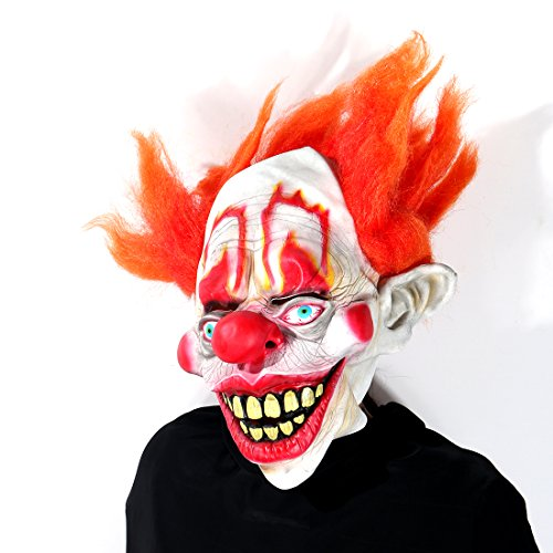 Deluxe Novelty Clown Mask Circus Scary Killer Halloween Horror Latex Full Head Fancy Dress -