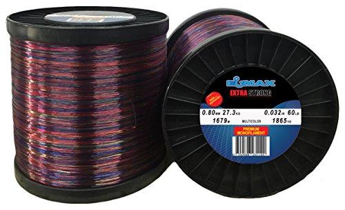 Multicolor Monofilament Fishing Line Elmax 2lb Bulk Spool (Camo 0.032 inch/0.80mm, 60LB/27.3kg test,1865 yd/1679m) (60 Tests)