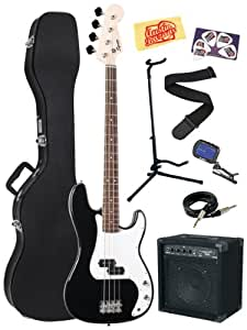 Squier Bullet Electric Precision Bass Guitar Bundle with Hardshell Case, 15-Watt Amp, Instrument Cable, Stand, Tuner, Strap, Picks, and Polishing Cloth - Black