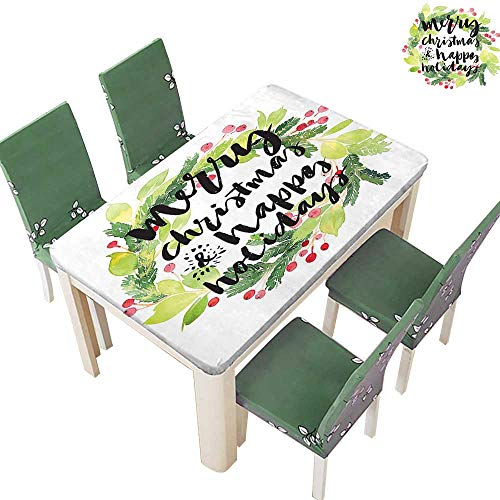 (Printsonne Polyester Tablecloth Merry Christmas Happy Holidays Rustic Red Berry Evergreen Image White Easy Care Spillproof 50 x 102 Inch (Elastic Edge))