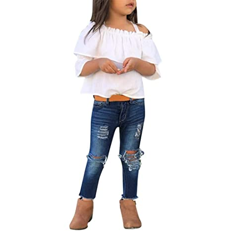 US Summer Kids Baby Girls Off Shoulder Tops T-Shirt Stripe Pants Outfits Sunsuit