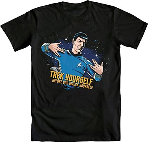 Star Trek Spock Trek Yourself Before Wreck Black Adult T-Shirt (Adult Large)