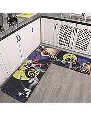 "Super Soft Jack Skellington 2 Piece Kitchen Mat Non-Slip Floor Mat Bathroom Area Rugs Doormat Runner Rug Set Kitchen Carpet 59.05""X17.7""+29.52""X17.7"""