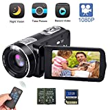 Camcorder Digital Camera with IR Night Vision HD Digital Video Camera 24.0Mega Pixels 18X Digital Zoom for Selfie Pause Function (Two Batteries Included) (Black)