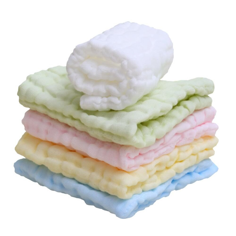 Lucear Muslin Baby Bath Washcloth (5-Pack) with Hook, 12x12 Reusable Wipes