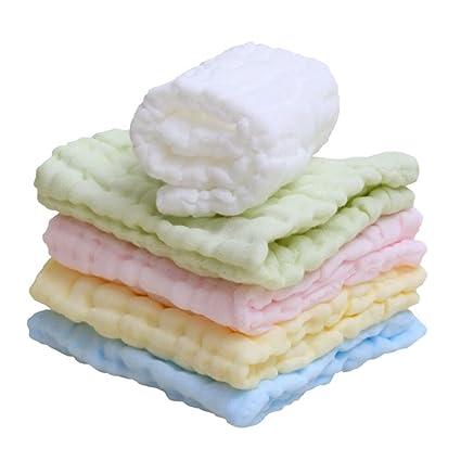 Lucear 5 pack Bebé Toallita Recién Nacidos Muselina Toalla Facial Toallitas de 100% Algodón para