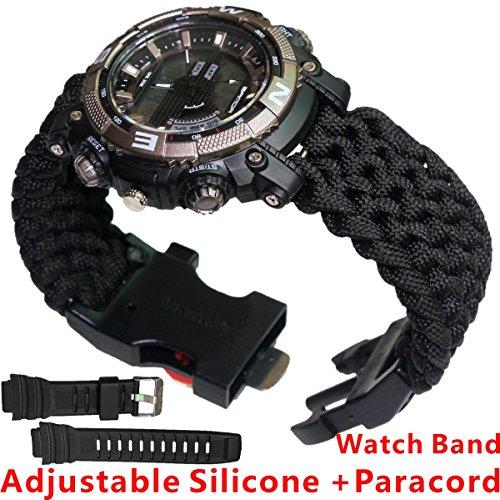 スポーツサバイバルWatch、ハイキングInclude Watch、パラコード、Fire StarterScraperホイッスル、コンパス6 in 1多機能アウトドアギア