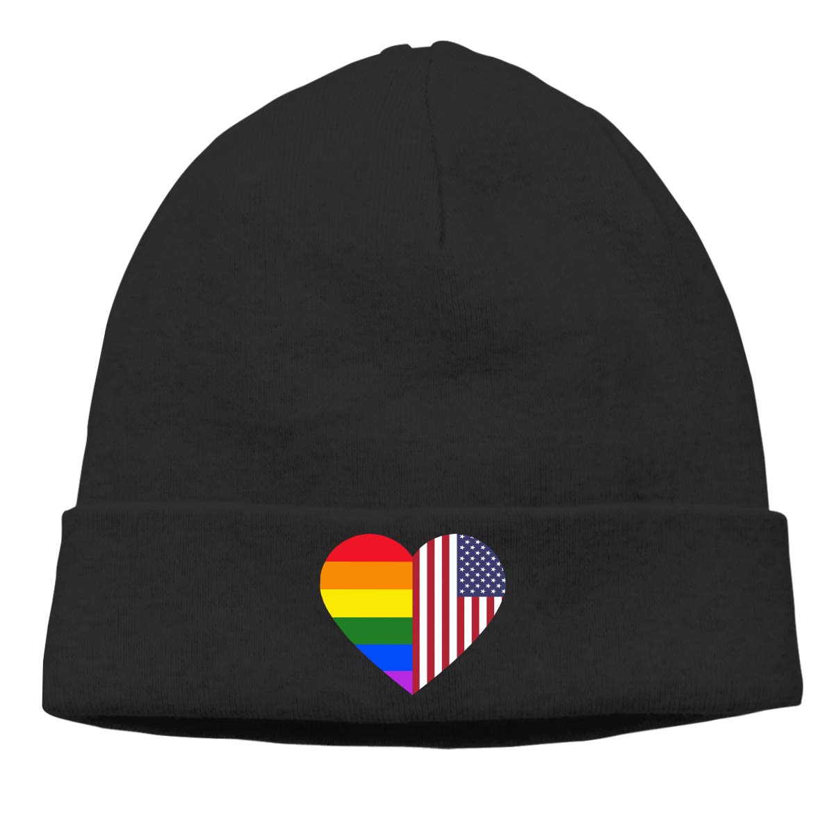 LGBT Rainbow American Flag Heart Warm Skiing Skull Cap Women Men Baseball Thin Beanie