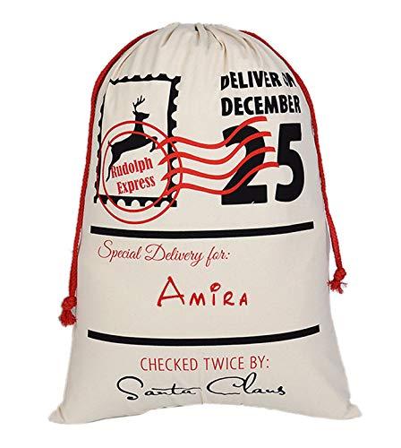 Aoloshow Amira Santa Sack Personalized Burlap Bag for Storking