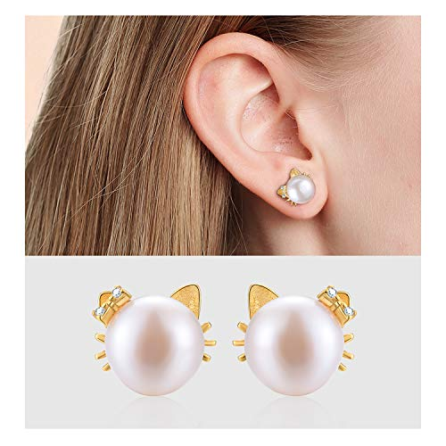 Esberry 18K Gold Plating 925 Sterling Silver Cat Stud Earrings Natural Freshwater White Pearl Cute Cat with Bow Earrings for Women and Girls (Yellow Gold-2)