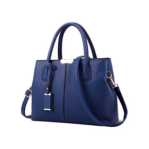 Tisdaini Bolso de la manera de las mujeres bolso simple del mensajero del hombro del color bolso simple de la PU azul marino