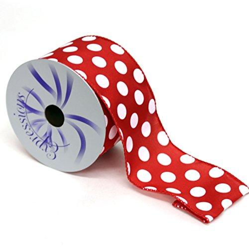 (Polka Dot Wired Edge Ribbon (2.5