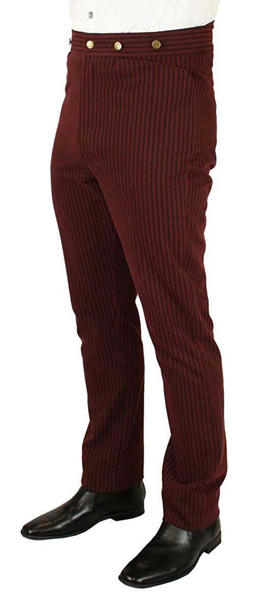 Men's Vintage Pants, Trousers, Jeans, Overalls Historical Emporium Mens High Waist Jennings Striped Cotton Trousers $56.95 AT vintagedancer.com