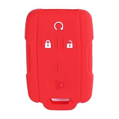 XUHANG Sillicone key fob Skin key Cover Remote Case Protector Shell for Chevrolet Silverado Colorado GMC Sierra Yukon Cadillac smart Remote red: Automotive