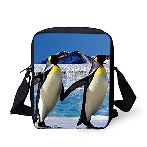 HUGSIDEA - Cartera de mano con asa para mujer Azul Pocket Dog 3 Small pingüino