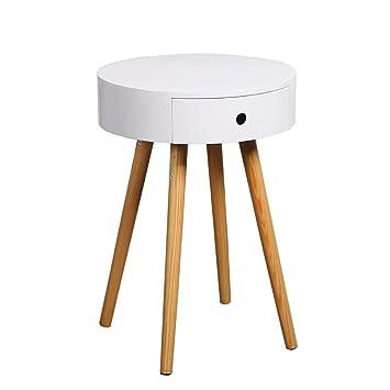 Limin Weiß Holz Side End Tisch Nachttisch Mit Schublade Massivholz Beine Wohnzimmer  Möbel