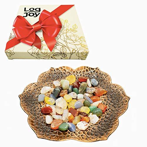 Log in Joy Small Decorative Candle Holder + Agate Stones + Gift Box - Decoraciones para Salas de Casa from Log in Joy