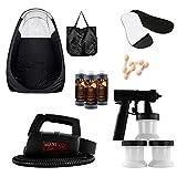 Cheap MaxiMist Lite Plus HVLP Sunless Spray Tan KIT w Tent, 25 pr foot protecters, 25 nose filters (Black Tent Black foot sole covers)