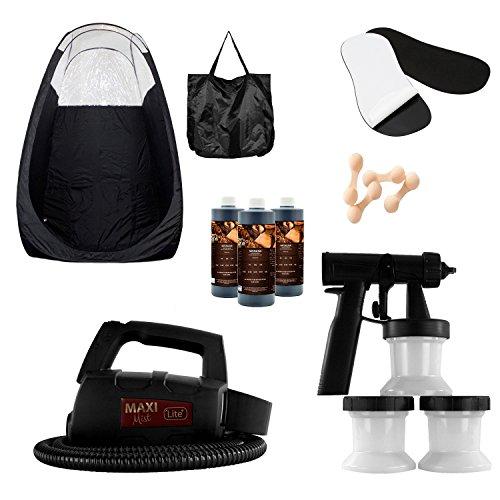 MaxiMist Lite Plus HVLP Sunless Spray Tan KIT w Tent, 25 pr foot protecters, 25 nose filters (Black Tent Black foot sole covers)