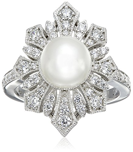 Platinum Plated Sterling Silver Cubic Zirconia Freshwater Cultured Antique Pearl Ring, Size 7