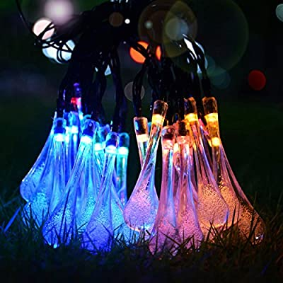 FEFELightup Solar String Lights 20ft 30 LED Water Drop Lights (Multi-color) Waterproof Auto-Charge