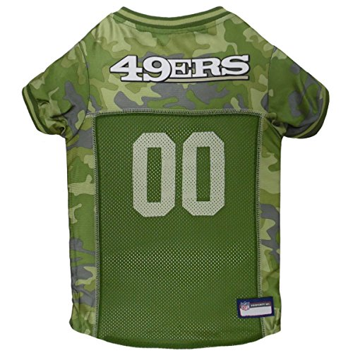 NFL SAN Francisco 49ERS Camouflage Dog Jersey, Medium. - CAMO PET Jersey Available in 5 Sizes & 32 NFL Teams. Hunting Dog Shirt