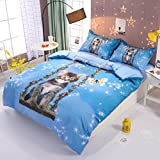 Beddinginn Cute Cat Swing Bedding Set Girls Loves 3d Duvet Cover Set Butterfly Print Girls Bed Set King Size