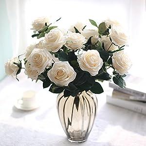XGM GOU 1Bunch 10 Head Blue Color Artificial Rose Fake Flowers Silk Flores for Home Bridal Wedding Decoration Flower Fleurs 10