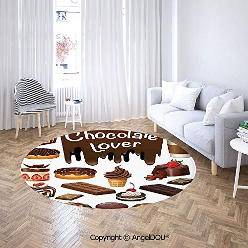 - AngelDOU Chair Floor Mat Round Cloakroom Carpet Chocolate Lover Sweets Cake Decorations Pattern Icecream Retro Style Design Cafe Home for Home Printed Area Rug.