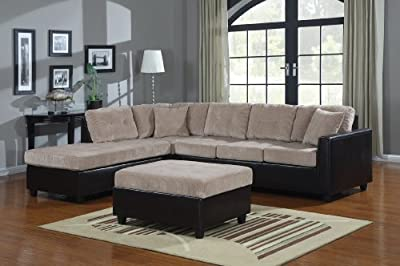 L-Shape Casual Contemporary Sectional with Reversible Chaise in Cream and Brown by Coaster