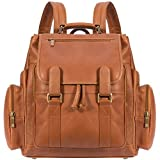 Muiska 17 Inch Leather Laptop Backpack, Saddle, One Size