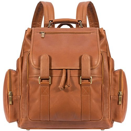 Muiska 17 Inch Leather Laptop Backpack, Saddle, One Size by Muiska