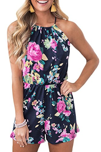 Women's Summer Cotton Strap Short Pants Rompers Floral Sleeveless Playsuit Backless Halter Beach Jumpsuit Navy L by Spadehill