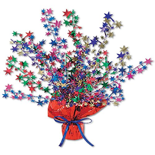 Club Pack of 12 Red, White and Blue Star Gleam 'N Burst Centerpiece Party Decorations 15