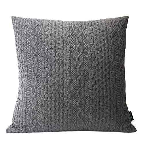Booque Valley Decorative Pillow Cover, Super Soft Elegant Modern Embossed Patterned Cushion Cover Throw Pillow Case for Sofa Bed Car Chair, 20 x 20 inch Single Piece(Dark Grey) (Ikea Floral Throw Pillow)